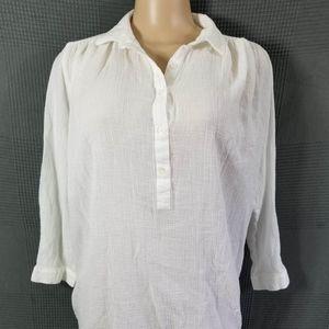 J Crew White Whisper Gauze Beach Tunic Top Shirt